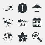 Travel trip icon. Airplane, world globe symbols. Royalty Free Stock Photos