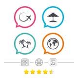 Travel trip icon. Airplane, world globe symbols. Royalty Free Stock Image