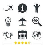 Travel trip icon. Airplane, world globe symbols. Royalty Free Stock Photo