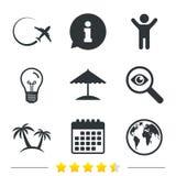 Travel trip icon. Airplane, world globe symbols. Stock Photo
