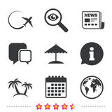 Travel trip icon. Airplane, world globe symbols. Royalty Free Stock Photos