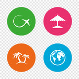 Travel trip icon. Airplane, world globe symbols. Stock Photos
