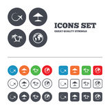 Travel trip icon. Airplane, world globe symbols Stock Photos
