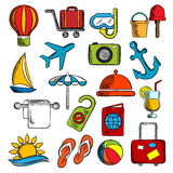 Travel, trip and leisure icons Stock Images