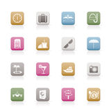 Travel, trip and tourism icons stock illustration