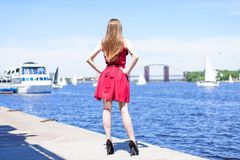 Travel trip tourism leisure dream outside go wear concept. Rear back behind view photo portrait of stylish trendy beautiful confid royalty free stock image