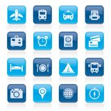 Travel, trip and transportation icons Stock Photos