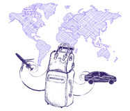 Travel and trips concept bag suitcase on world map background. Imitation drawing with a ballpoint pen or pencil. Stock Images