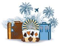 Travel tropical casino background. Vector illustration royalty free illustration