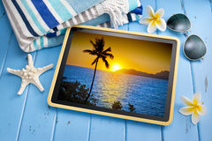 Travel Tropical Sunset Tablet Stock Photography