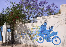 Father and Daughters on Motorcycle, Djerba Graffiti Street Art, Travel Tunisia Royalty Free Stock Photo