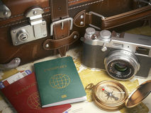 Travel or turism background concept.  Old  suitcase,  passports Stock Image