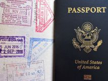 Travel or turism concept. American passport. Opened passport with visa stamps. Travel or turism concept . Opened passport with visa stamps royalty free stock photography