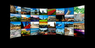 Travel TV Tour. Tv Panels with landmarks around the world stock images