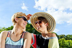Travel two woman and sideseeing foutain with big smile Stock Images