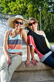 Travel two woman and sideseeing foutain with big smile Royalty Free Stock Image
