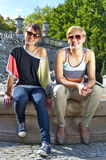 Travel two woman and sideseeing foutain with big smile Royalty Free Stock Photography