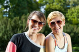 Travel two woman and sideseeing foutain with big smile Stock Photos