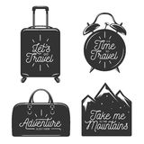 Travel typography set of design elements royalty free illustration