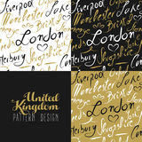 Travel uk london seamless pattern gold city text Royalty Free Stock Photography