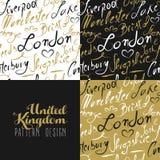 Travel uk london seamless pattern gold city text Royalty Free Stock Photography