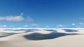 Travel among unique white sands Brazil desert. Travel through unique white sand dunes and rainwater lagoons in Lencois Maranhenses National Park in Brazil on off stock video footage