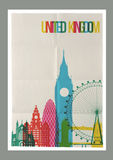 Travel United Kingdom landmarks skyline vintage poster Royalty Free Stock Images