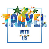 Travel with us - banner, vector template illustration Stock Images