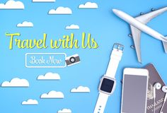 Travel with us now website banner with travel gadgets. Poster Stock Photo