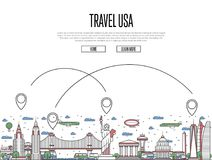 Travel USA poster in linear style. Travel USA poster with national architectural attractions and air route symbols in trendy linear style. American famous Royalty Free Stock Photo