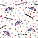 Travel USA seamless pattern. Love New York City background. Hear Stock Image