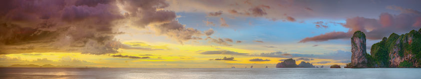 Travel vacation background. Beautiful beach with colorful sky, Thailand Stock Images