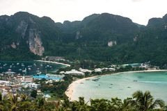 Travel vacation background - Tropical island with resorts - Phi-Phi island, Krabi Province, Thailand. Travel vacation - Tropical island with resorts - Phi-Phi stock photo