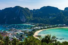 Travel vacation background Tropical island with resorts Phi-Phi island Krabi Province Thailand. Aerial view andaman sea aquatic asia asian bay beach clean royalty free stock photography