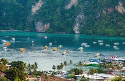 Travel vacation background Tropical island with resorts Phi-Phi island Krabi Province Thailand. Aerial view andaman sea aquatic asia asian bay beach clean stock images