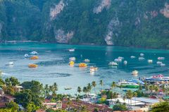 Travel vacation background Tropical island with resorts Phi-Phi island Krabi Province Thailand. Aerial view andaman sea aquatic asia asian bay beach clean stock photo