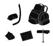 Travel, vacation, backpack, luggage .Family holiday set collection icons in black style vector symbol stock illustration.  Stock Photo