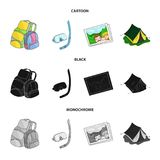 Travel, vacation, backpack, luggage .Family holiday set collection icons in cartoon,black,monochrome style vector symbol. Stock illustration Royalty Free Stock Photo