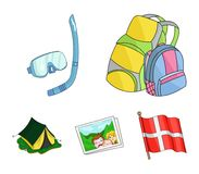 Travel, vacation, backpack, luggage .Family holiday set collection icons in cartoon style vector symbol stock. Illustration Royalty Free Stock Photography