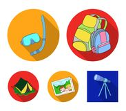 Travel, vacation, backpack, luggage .Family holiday set collection icons in flat style vector symbol stock illustration.  Stock Image