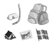 Travel, vacation, backpack, luggage .Family holiday set collection icons in monochrome style vector symbol stock. Illustration Royalty Free Stock Image
