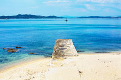 Travel vacation beach background with blue Royalty Free Stock Photos