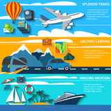 Travel vacation camping banners set Royalty Free Stock Photography