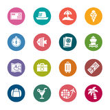 Travel and Vacation Color Icons Stock Photos