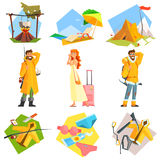 Travel and Vacation. Colourful Vector Illustration. Travel planning and Vacation. Colourful Vector Illustration Set Royalty Free Stock Photos