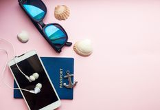 Travel vacation concept flat lay, space for text stock image