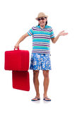 Travel vacation concept with luggage on white Royalty Free Stock Photos
