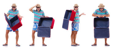 The travel vacation concept with luggage on white Royalty Free Stock Photography
