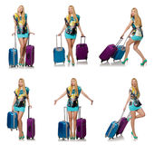 The travel vacation concept with luggage on white Stock Photo