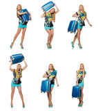 The travel vacation concept with luggage on white Royalty Free Stock Photo